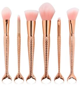 rose gold mermaid makeup brushes