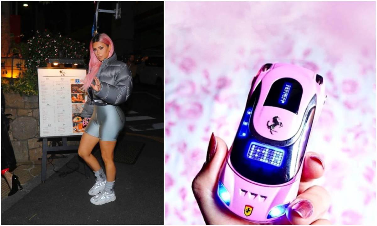 kim-kardashian-pink-ferrari-flip-phone